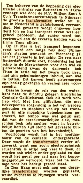 Grote Transformator is aangekomen 31-05-1941