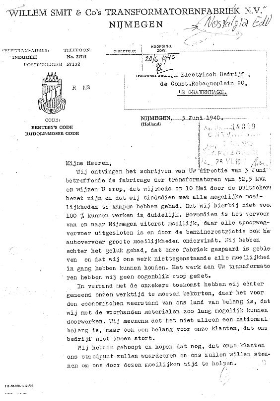 Brief m.b.t. vertraging transformatoren aan GEB Den Haag 05-06-1940