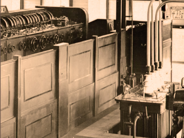 Transformator bij machinezender Malabar 1927