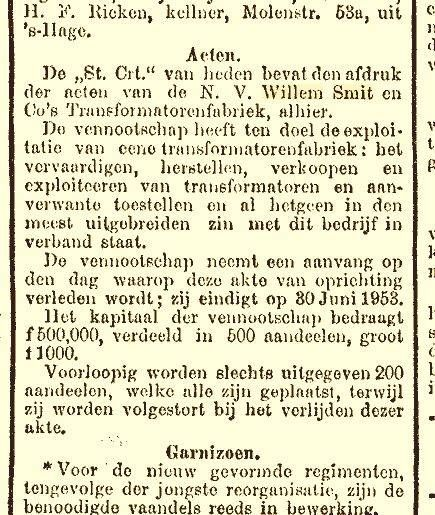 Oprichting Willem Smit & Co's Transformatorenfabriek 14-05-1913