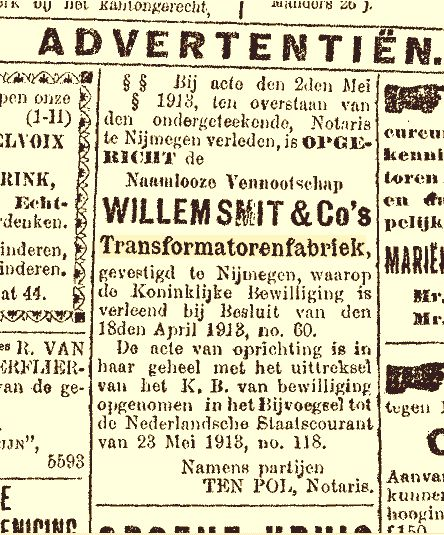 Oprichting Willem Smit & Co's Transformatorenfabriek NV (02-05-1913)