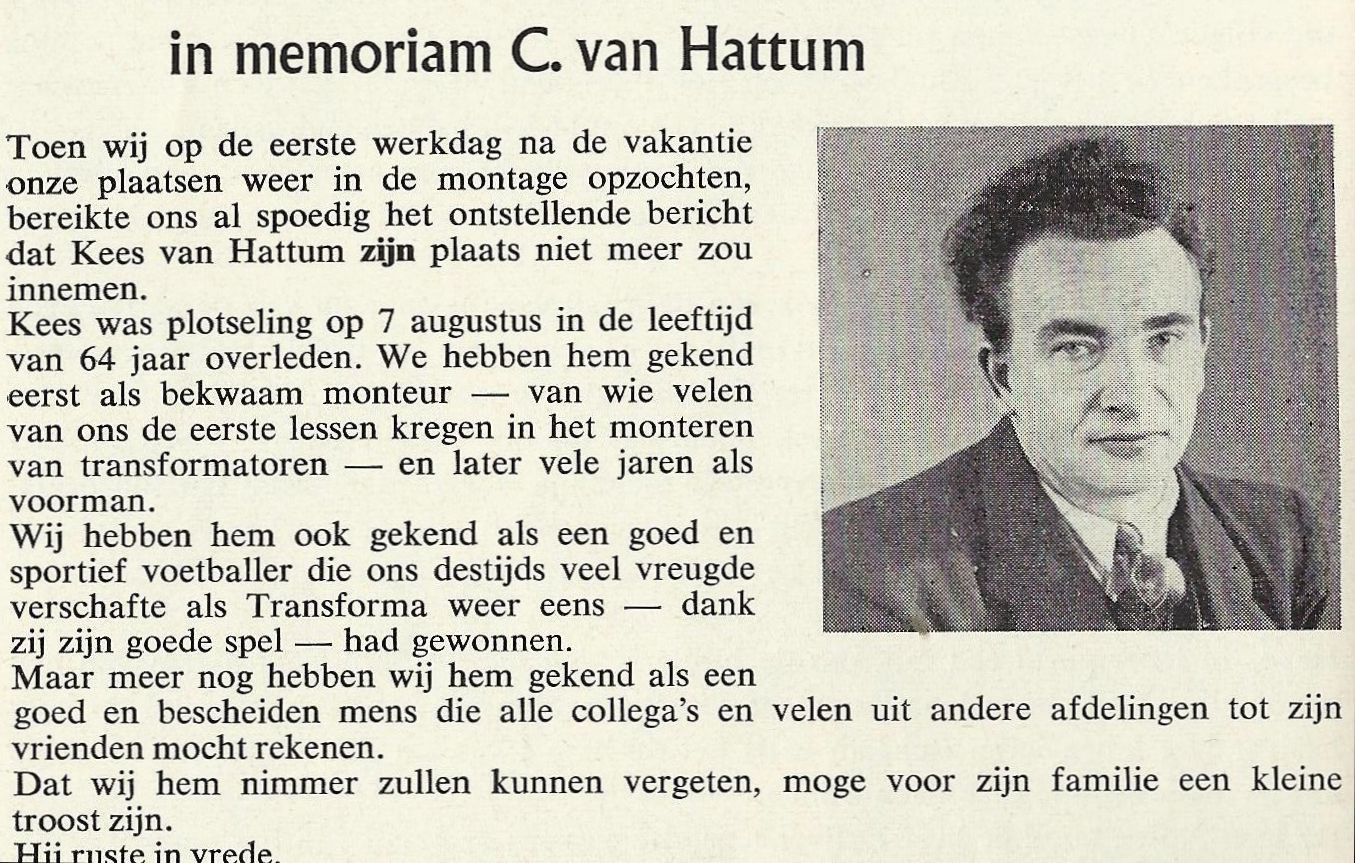 Hattem-bekende monteur transformatoren sinds begin-inmemoriam1964